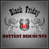 Heraldic sign promoting Black Friday event. Royalty Free Stock Images