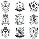Heraldic signs, elements, heraldry emblems, insignias, signs, ve Royalty Free Stock Image