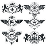 Heraldic signs, elements, heraldry emblems, insignias, signs, ve Royalty Free Stock Photos