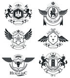 Heraldic signs, elements, heraldry emblems, insignias, signs, ve Stock Photos
