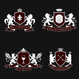 Heraldic signs, elements, insignia. Vector set Stock Photo