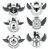 Heraldic signs vector vintage elements. Collection of symbols in Stock Photos