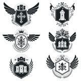 Heraldic signs  vintage elements. Collection of symbols in Royalty Free Stock Photography