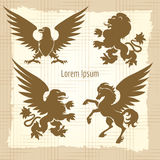 Heraldic silhouettes vintage poster vector illustration