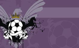 Heraldic soccer coat of arms skull background Stock Images