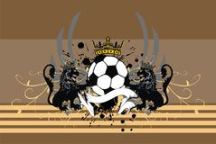 Soccer lions crest coat of arms background. Heraldic soccer lion crest coat of arms background in vector format very easy to edit Stock Photo