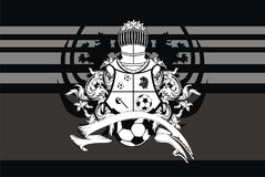 Tattoo Soccer lions crest coat of arms background. Heraldic soccer lion crest coat of arms background in vector format very easy to edit royalty free illustration