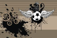 Winged heraldic Soccer lions crest coat of arms background. Heraldic soccer lion crest coat of arms background in vector format very easy to edit Royalty Free Stock Image