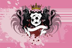 Winged Soccer lions crest coat of arms background. Heraldic soccer lion crest coat of arms background in vector format very easy to edit Royalty Free Stock Images