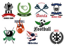 Heraldic sport emblems and icons with items Royalty Free Stock Photos