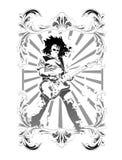 Heraldic symbol and guitarists. Heraldic symbol of the shield, and guitarists Stock Images