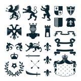 Heraldic Symbols Emblems Collection Black Stock Photos