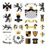 Heraldic Symbols Emblems Collection Black Yellow Royalty Free Stock Photos