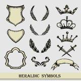 Heraldic symbols, hand drawing, Stock Image
