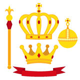 Heraldic symbols, monarch set. Royal traditions combination in flat style. Royalty Free Stock Photo