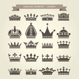 Heraldic symbols - royal crowns set Royalty Free Stock Photography
