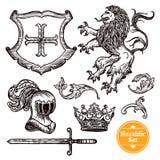 Heraldic Symbols Set Black Doodle Sketch Royalty Free Stock Image