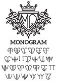 Heraldic template monogram with the bilateral alphabet Stock Image