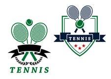 Heraldic tennis emblems or badges Stock Images