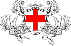 Heraldic unicorn coat of arms crest shield4 Stock Photo