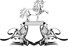 Heraldic unicorn coat of arms crest shield Stock Photos