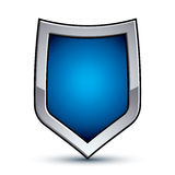 Heraldic vector blue emblem with silver outline, 3d conceptual d Stock Photo
