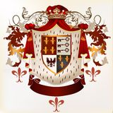 Heraldic vector element with coat of arms and ribbon Stock Photos