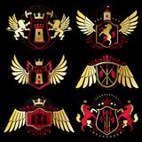 Heraldic vector signs decorated with vintage elements, monarch c Stock Photography