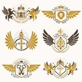 Heraldic vector signs decorated with vintage elements, monarch c Stock Images
