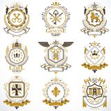 Heraldic vector signs decorated with vintage elements, monarch c Royalty Free Stock Image