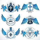 Heraldic vector signs decorated with vintage elements, monarch c Royalty Free Stock Photos