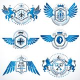 Heraldic vector signs decorated with vintage elements, monarch c Royalty Free Stock Photo