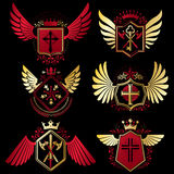 Heraldic vector signs decorated with vintage elements, monarch c Stock Photo