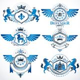 Heraldic vector signs decorated with vintage elements, monarch c Stock Image