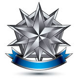Heraldic vector template with complicated silver star, 3d Royalty Free Stock Photography