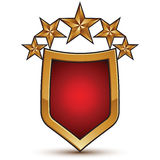Heraldic vector template with five glossy golden stars Stock Image