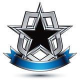 Heraldic vector template with five pentagonal silver stars  Stock Photos