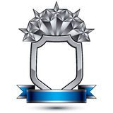 Heraldic vector template with five pentagonal silver stars place. D on a security shield and decorated with blue wavy stripe, silver 3d royal geometric blazon Royalty Free Stock Photography