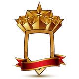 Heraldic vector template with pentagonal golden star Royalty Free Stock Photography