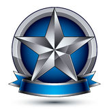 Heraldic vector template with silver star, 3d Stock Photos