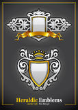 Heraldic vintage emblems set silver and gold Royalty Free Stock Photo