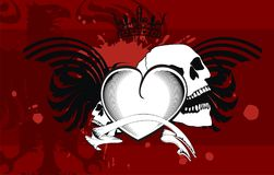 Heraldic winged heart tattoo background. In vector format very easy to edit stock illustration