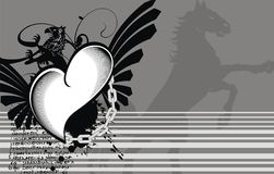 Heraldic horse winged heart tattoo background. Heraldic winged heart tattoo background in vector format very easy to edit vector illustration
