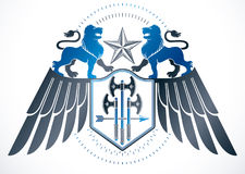 Heraldic winged sign created with vector vintage elements like w Royalty Free Stock Photography