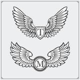 Heraldic wings set. Design elements. Vector illustration. Royalty Free Stock Photography