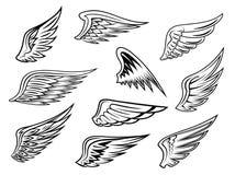 Heraldic wings set Royalty Free Stock Image