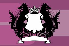Heraldic wolf coat of arms crest tattoo background. In vector format Stock Photos