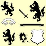 Heraldic wolf coat of arms crest tattoo pack Royalty Free Stock Images