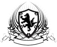 Heraldic wolf coat of arms crest tattoo winged Stock Photo