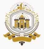 Heraldik för gammal stil, heraldiskt emblem, vektorillustration royaltyfri illustrationer